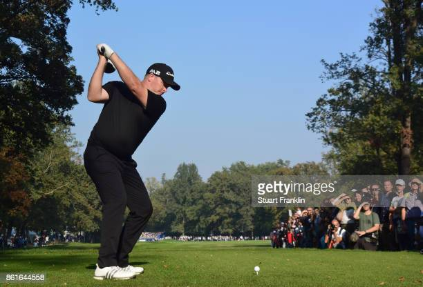 Marcus Fraser of Australia plays a shot on the 18th hole during the final round of The Italian Open at Golf Club Milano Parco Reale di Monza on...