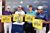 Marcus Fraser of Australia Scott Hend of Australia Jonathan Moore of USA and Anirban Lahiri of India poses for a photo with their flags after...