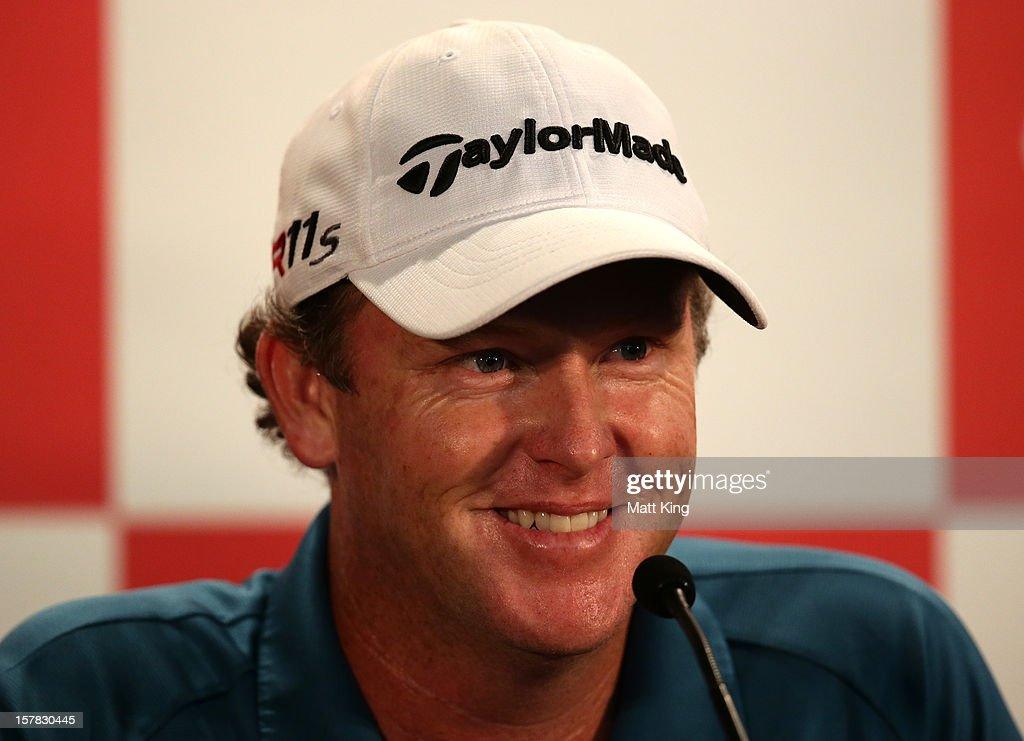 Marcus Fraser of Australia speaks to the media folliwing round two of the 2012 Australian Open at The Lakes Golf Club on December 7, 2012 in Sydney, Australia.