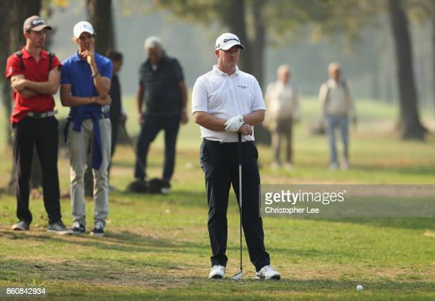 Marcus Fraser of Australia waits to play on the 18th hole during day two of the Italian Open at Golf Club Milano Parco Reale di Monza on October 13...