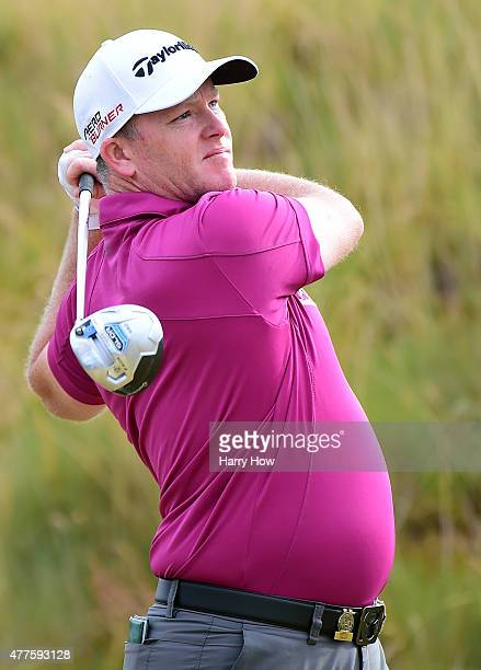 Marcus Fraser of Australia watches his tee shot on the sixth hole during the first round of the 115th US Open Championship at Chambers Bay on June 18...