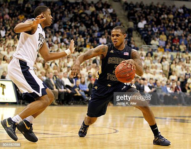 Marcus GeorgesHunt of the Georgia Tech Yellow Jackets in action during the game Chris Jones of the Pittsburgh Panthers at Petersen Events Center on...