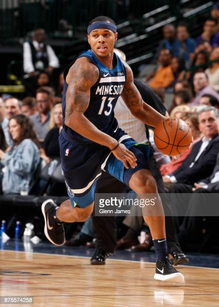Marcus GeorgesHunt of the Minnesota Timberwolves handles the ball against the Dallas Mavericks on November 17 2017 at the American Airlines Center in...