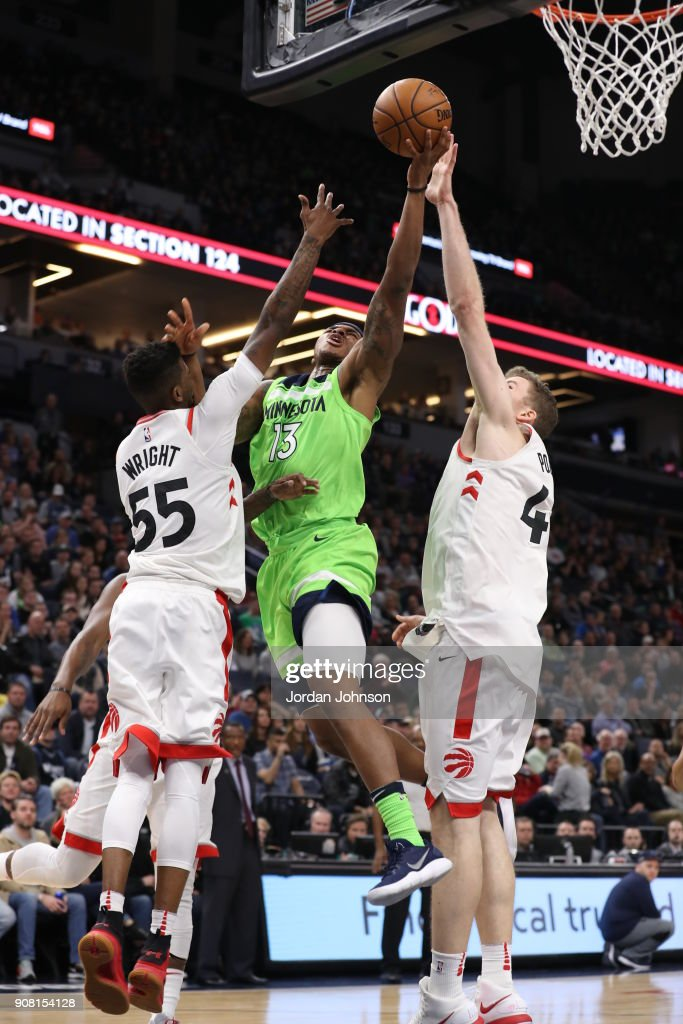 Marcus Georges-Hunt #13 of the Minnesota Timberwolves handles the ball against the Toronto Raptors on January 20, 2018 at Target Center in Minneapolis, Minnesota.