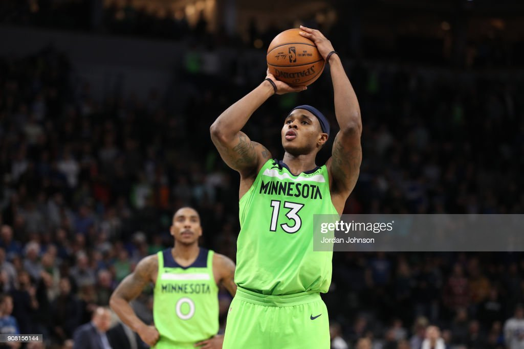 Marcus Georges-Hunt #13 of the Minnesota Timberwolves shoots the ball against the Toronto Raptors on January 20, 2018 at Target Center in Minneapolis, Minnesota.