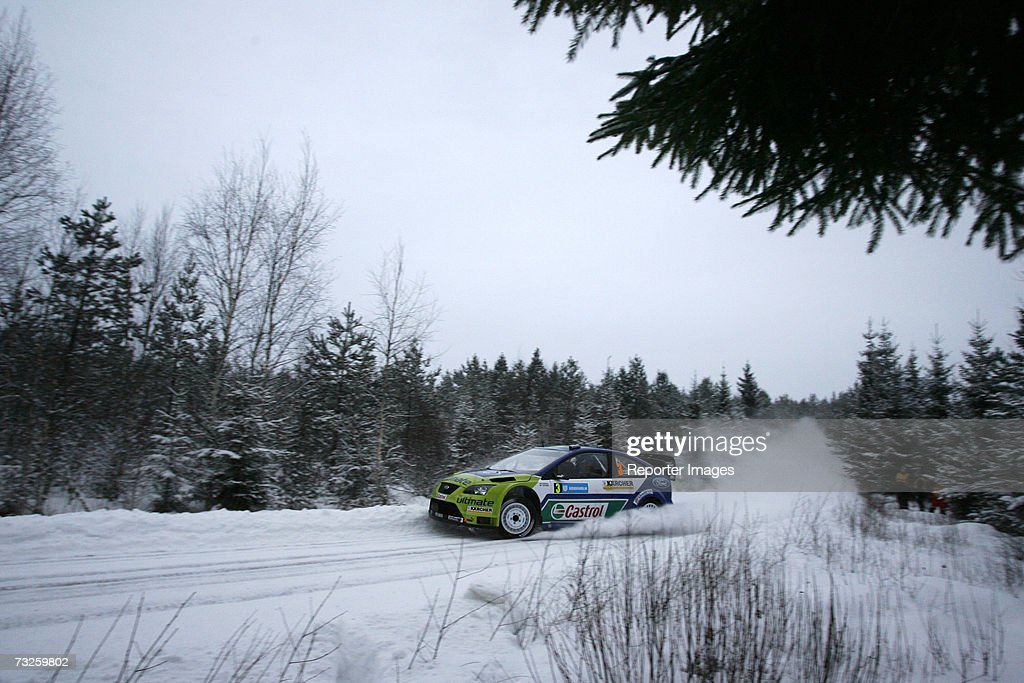 Marcus Gronholm Timo Rautiainen of Finland deive a Ford Focus RS WRC 06 A/8 during the Uddeholm Swedish Rally 2007 February 8 2007 in Hagfors Sweden