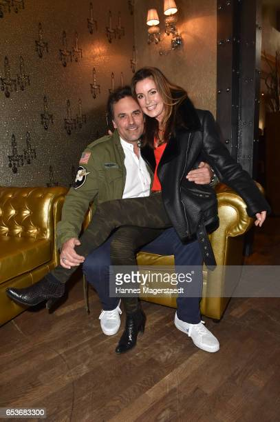 Marcus Gruesser and his girlfriend Sylvie Lindenbauer during the NdF after work press cocktail at Parkcafe on March 15 2017 in Munich Germany