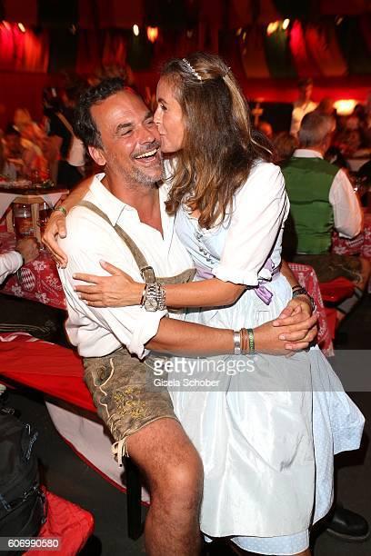 Marcus Gruesser and his girlfriend Sylvie Lindenbauer during the Birgitt Wolff's PreWiesn party ahead of the Oktoberfest at Hippodrom in Postpalast...
