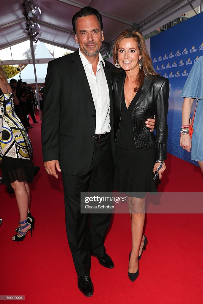 Marcus Gruesser and Sylvie Lindenbauer attend the Movie meets Media party during the Munich Film Festival on June 29 2015 in Munich Germany