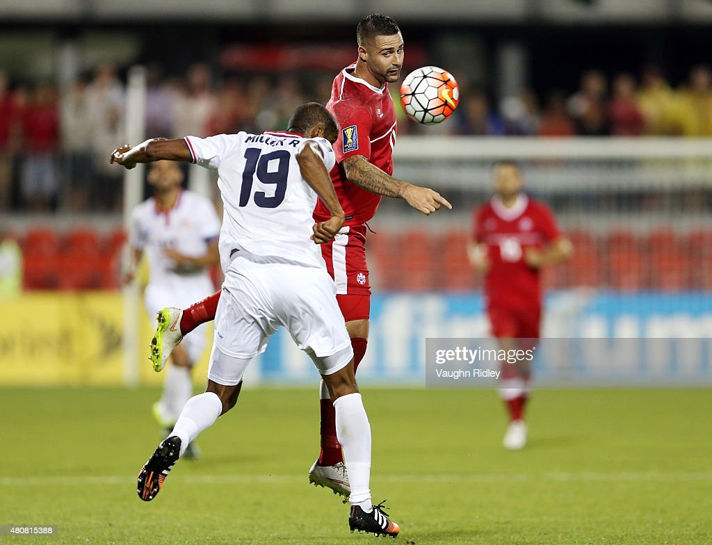 Marcus Haber #11 of Canada beats Roy Miller #19 of Costa Rica to a header during the 2015 CONCACAF Gold Cup Group B match between Canada and Costa Rica at BMO Field on July 14, 2015 in Toronto, Ontario, Canada.