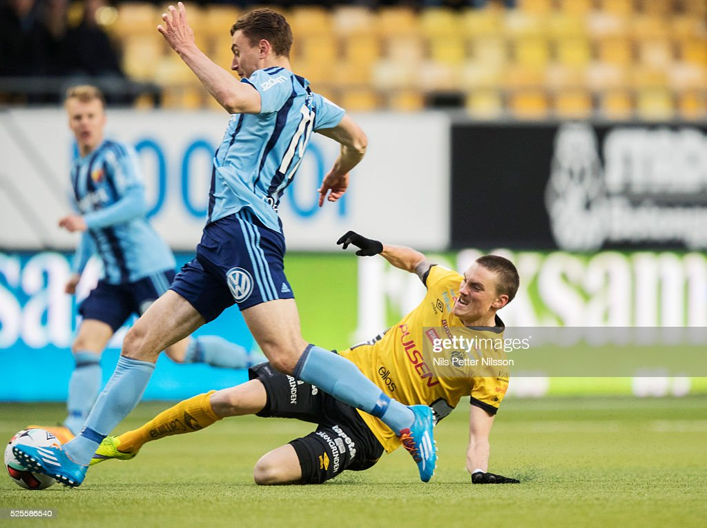 Marcus Hansson of Djurgardens IF and Lars Nilsson of IF Elfsborg competes for the ball during the Allsvenskan match between IF Elfsborg and Djurgardens IF at Boras Arena on April 28, 2016 in Boras, Sweden.