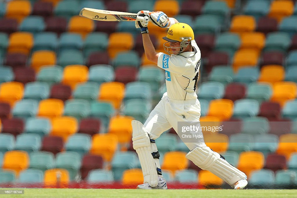 Marcus Harris of the Warriors bats during day two of the Sheffield Shield match between the Queensland Bulls and the Western Australia Warriors at The Gabba on February 5, 2013 in Brisbane, Australia.