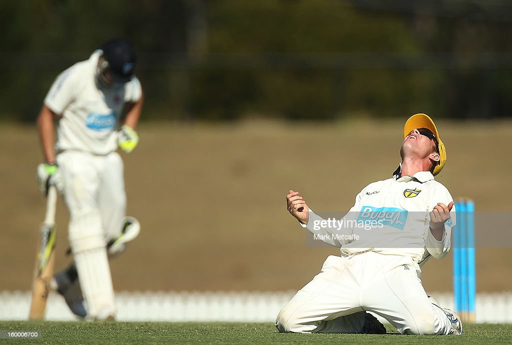 Marcus Harris of the Warriors celebrates catching Steve Smith of the Blues off the bowling of Jason Behrendorff during day two of the Sheffield Shield match between the New South Wales Blues and the Western Australia Warriors at Blacktown International Sportspark on January 25, 2013 in Sydney, Australia.