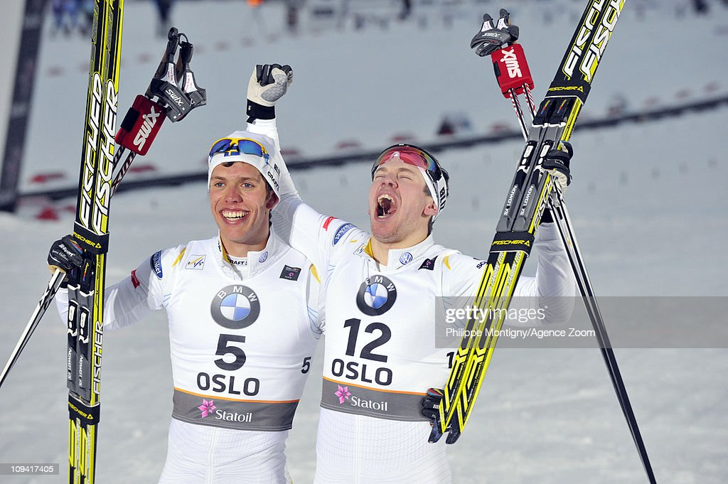 <a gi-track='captionPersonalityLinkClicked' href=/galleries/search?phrase=Marcus+Hellner&family=editorial&specificpeople=4046940 ng-click='$event.stopPropagation()'>Marcus Hellner</a> of Sweden takes 1st place, <a gi-track='captionPersonalityLinkClicked' href=/galleries/search?phrase=Emil+Joensson&family=editorial&specificpeople=4045550 ng-click='$event.stopPropagation()'>Emil Joensson</a> of Sweden takes 3rd place during the FIS Nordic World Ski Championships Cross-Country Men's Sprint on February 24, 2011 in Oslo, Norway.