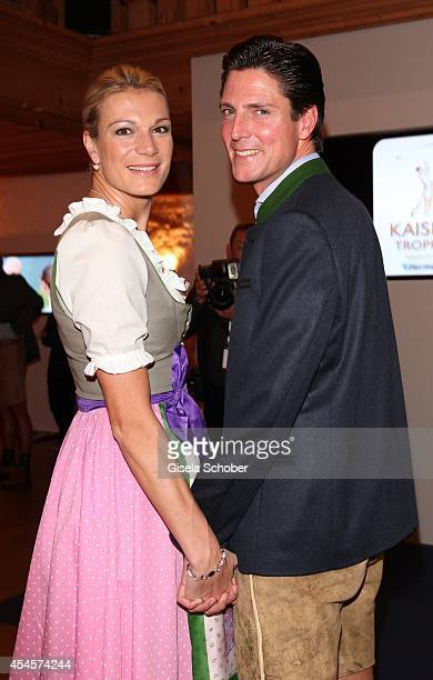Marcus Hoefl and his wife Maria Hoefl Riesch attend the Camp Beckenbauer After Golf Party at Hotel Stanglwirt on September 3 2014 in Going near...