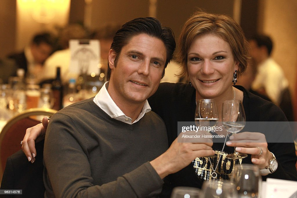 Marcus Hoefl and Maria Riesch attend the Champions League dinner at the Marriott Worsley Park hotel after the UEFA Champions League quarter final second leg match between Manchester United and Bayern Muenchen at Old Trafford on April 7, 2010 in Manchester, England.