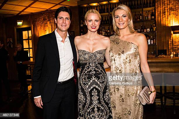 Marcus Hoefl Franziska Knuppe and Maria HoeflRiesch attend the 40th birthday party of Franziska Knuppe on December 06 2014 in Berlin Germany