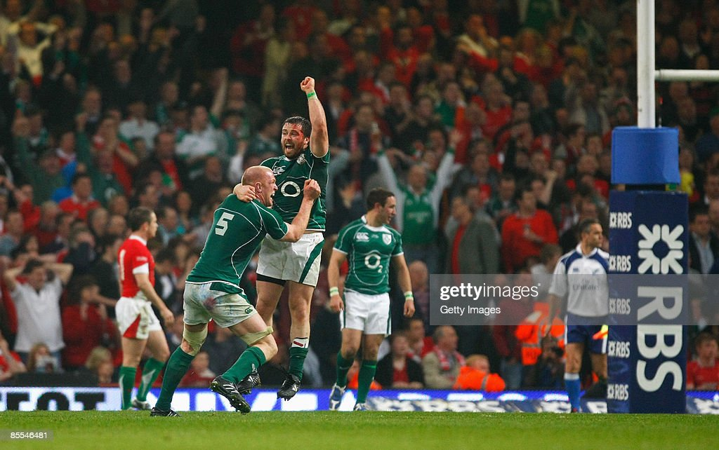 Marcus Horan and Paul O'Connell of Ireland celebrate winning the Grand Slam during the RBS 6 Nations Championship match between Wales and Ireland at the Millennium Stadium on March 21, 2009 in Cardiff, Wales.
