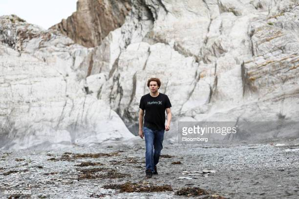 Marcus Hutchins digital security researcher for Kryptos Logic walks along Tunnels Beaches in Ilfracombe UK on Tuesday July 4 2017 Hutchins the...