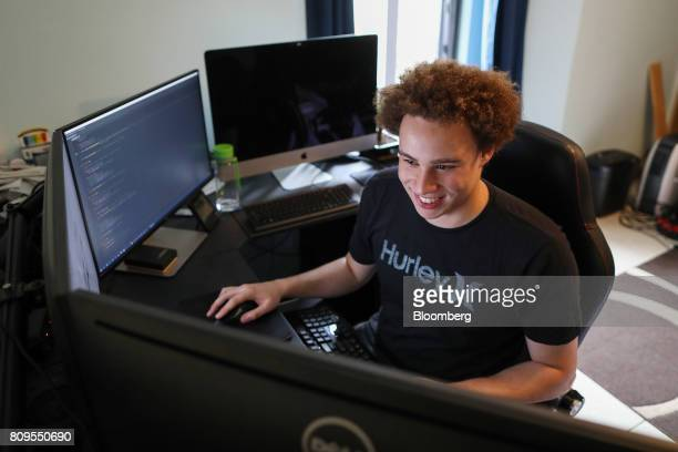 Marcus Hutchins digital security researcher for Kryptos Logic works on a computer in his bedroom in Ilfracombe UK on Tuesday July 4 2017 Hutchins the...
