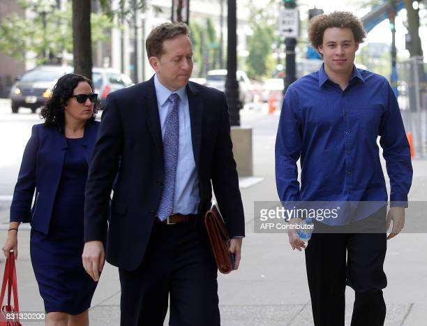 Marcus Hutchins the British cyber security expert accused of creating and selling malware that steals banking passwords arrives with his lawyers...