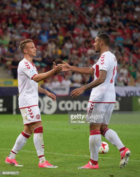Marcus Ingvartsen of Denmark celebrates with Kenneth Zohore scoring his sides fourth goal during the UEFA European Under21 Championship Group C match...