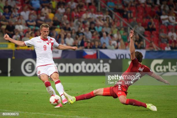 Marcus Ingvartsen of Denmark scores his sides fourth goal during the UEFA European Under21 Championship Group C match between Czech Republic and...