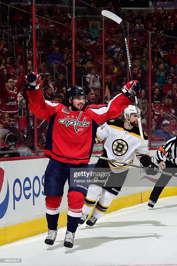 Marcus Johansson of the Washington Capitals celebrates after scoring a goal in the second period against the Boston Bruins during an NHL game at...