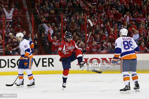 Marcus Johansson of the Washington Capitals celebrates after scoring a first period goal against the New York Islanders in Game One of the Eastern...