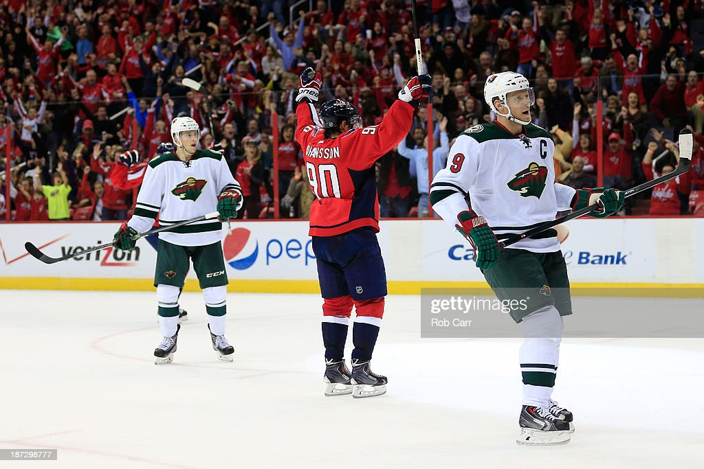 <a gi-track='captionPersonalityLinkClicked' href=/galleries/search?phrase=Marcus+Johansson&family=editorial&specificpeople=4247883 ng-click='$event.stopPropagation()'>Marcus Johansson</a> #90 of the Washington Capitals celebrates scoring a third perioid goal against the Minnesota Wild during their 3-2 shootout win at Verizon Center on November 7, 2013 in Washington, DC.