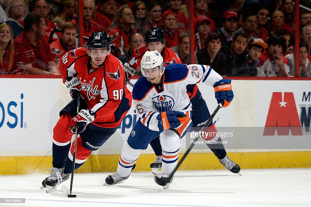 <a gi-track='captionPersonalityLinkClicked' href=/galleries/search?phrase=Marcus+Johansson&family=editorial&specificpeople=4247883 ng-click='$event.stopPropagation()'>Marcus Johansson</a> #90 of the Washington Capitals controls the puck against the Edmonton Oilers in the second period during an NHL game at Verizon Center on October 14, 2013 in Washington, DC.