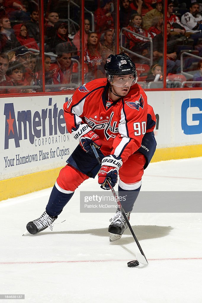<a gi-track='captionPersonalityLinkClicked' href=/galleries/search?phrase=Marcus+Johansson&family=editorial&specificpeople=4247883 ng-click='$event.stopPropagation()'>Marcus Johansson</a> #90 of the Washington Capitals controls the puck in the second period against the Edmonton Oilers during an NHL game at Verizon Center on October 14, 2013 in Washington, DC.
