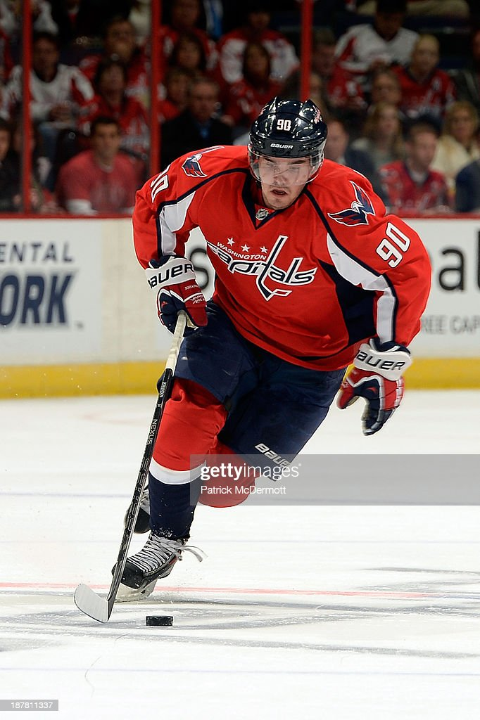 <a gi-track='captionPersonalityLinkClicked' href=/galleries/search?phrase=Marcus+Johansson&family=editorial&specificpeople=4247883 ng-click='$event.stopPropagation()'>Marcus Johansson</a> #90 of the Washington Capitals controls the puck in the second period against the Columbus Blue Jackets during an NHL game at Verizon Center on November 12, 2013 in Washington, DC.