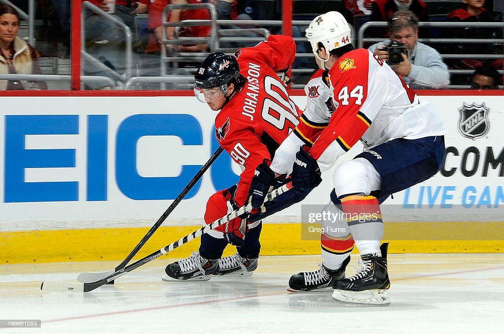 <a gi-track='captionPersonalityLinkClicked' href=/galleries/search?phrase=Marcus+Johansson&family=editorial&specificpeople=4247883 ng-click='$event.stopPropagation()'>Marcus Johansson</a> #90 of the Washington Capitals handles the puck in the third period against <a gi-track='captionPersonalityLinkClicked' href=/galleries/search?phrase=Erik+Gudbranson&family=editorial&specificpeople=5741800 ng-click='$event.stopPropagation()'>Erik Gudbranson</a> #44 of the Florida Panthers at the Verizon Center on November 2, 2013 in Washington, DC. Washington won the game 3-2 in a shootout.