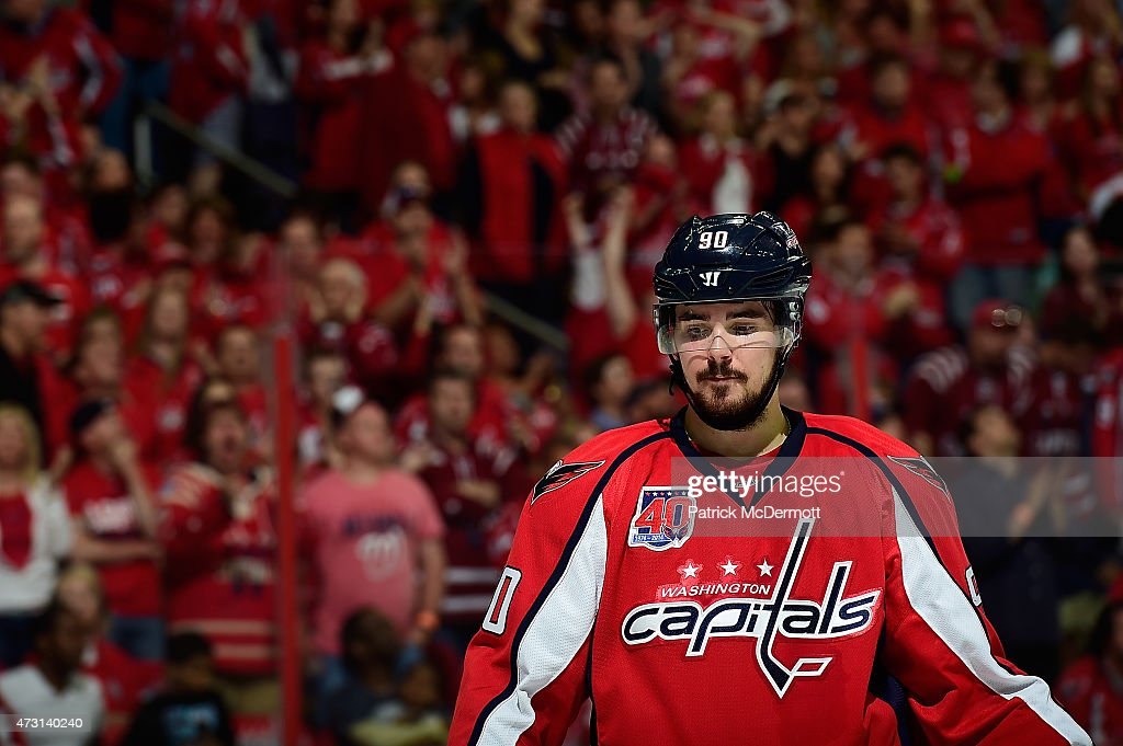 Marcus Johansson of the Washington Capitals looks on during the second period against the New York Rangers in Game Six of the Eastern Conference...