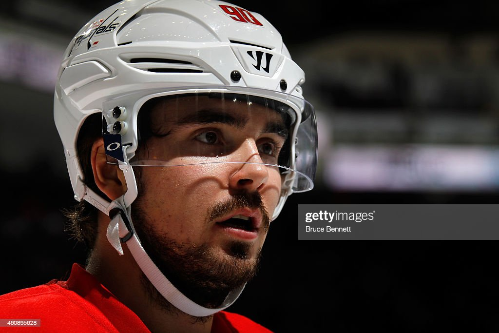 Marcus Johansson of the Washington Capitals looks on in the first period against the New York Islanders during a game at the Nassau Veterans Memorial...