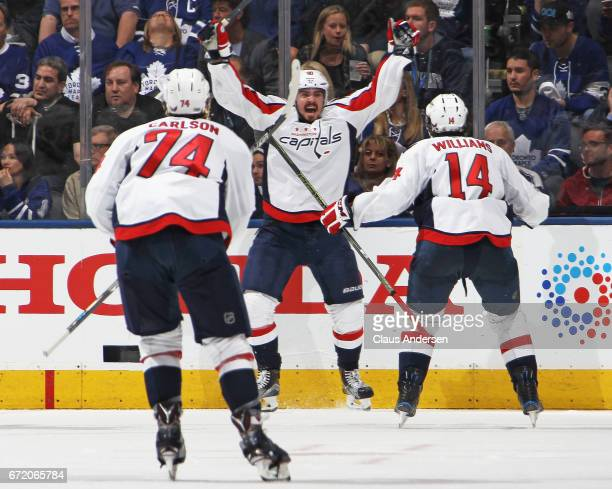 Marcus Johansson of the Washington Capitals scores the overtime and serieswinning goal against the Toronto Maple Leafs in Game Six of the Eastern...
