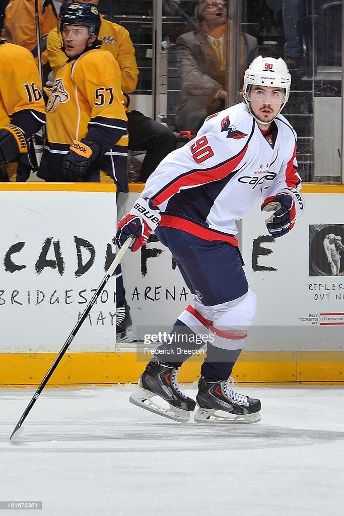 Marcus Johansson of the Washington Capitals skates against the Nashville Predators at Bridgestone Arena on March 30 2014 in Nashville Tennessee