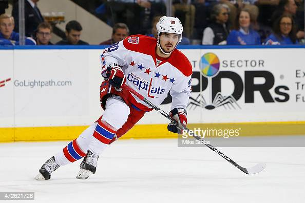 Marcus Johansson of the Washington Capitals skates against the New York Rangers in Game One of the Eastern Conference Semifinals during the 2015 NHL...