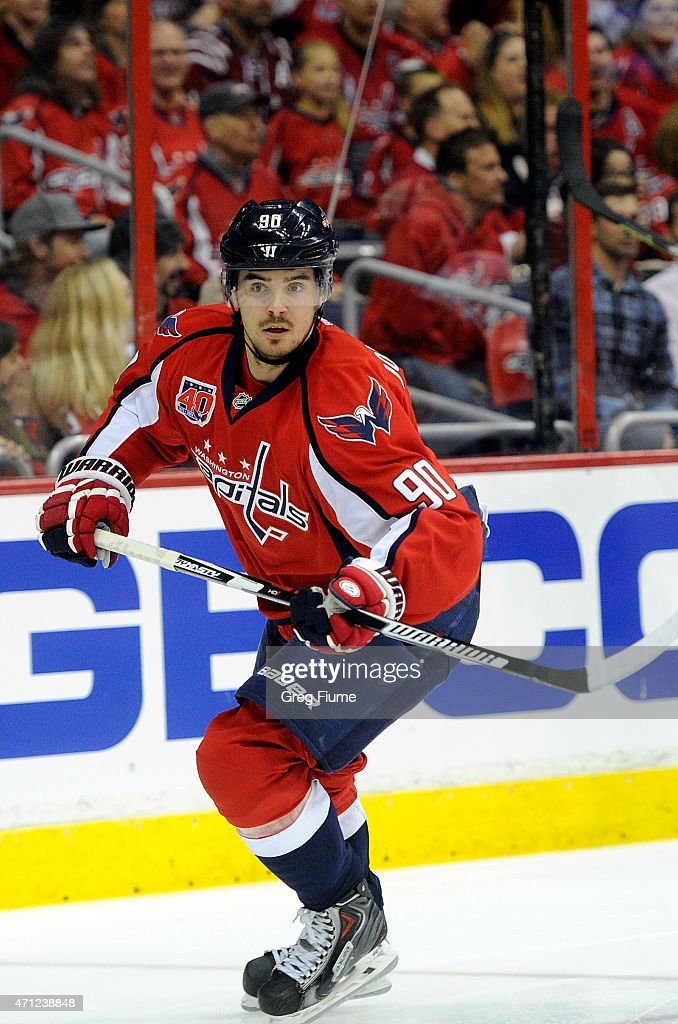 Marcus Johansson of the Washington Capitals skates down the ice against the New York Islanders during Game Two of the Eastern Conference...