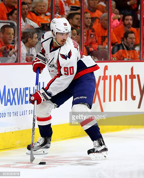 Marcus Johansson of the Washington Capitals takes the puck in the first period against the Philadelphia Flyers in Game Three of the Eastern...