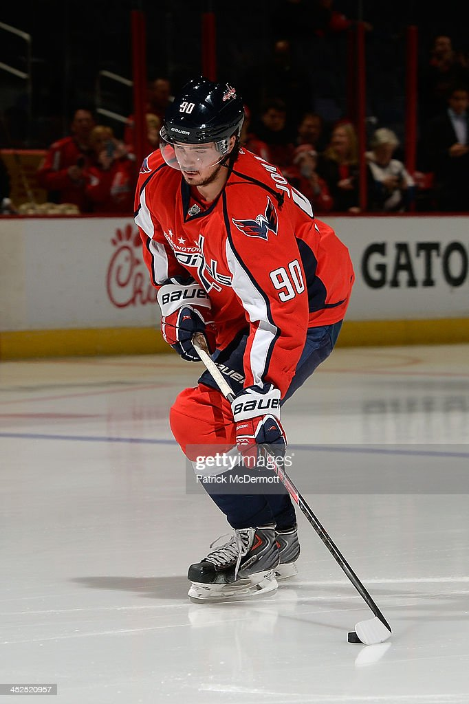 Marcus Johansson #90 of the Washington Capitals warms up prior to playing an NHL game against the Montreal Canadiens at Verizon Center on November 29, 2013 in Washington, DC.