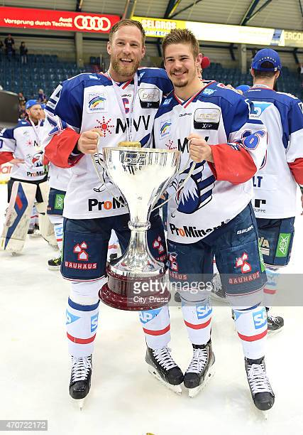 Marcus Kink and Martin Buchwieser of Adler Mannheim celebrates after the game between ERC Ingolstadt and Adler Mannheim on April 22 2015 in Mannheim...