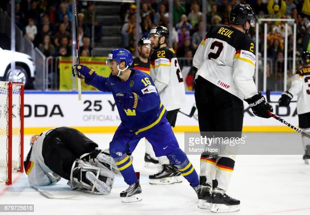 Marcus Kruger of Sweden celebrates after he scores the 3rd goal during the 2017 IIHF Ice Hockey World Championship game between Germany and Sweden at...