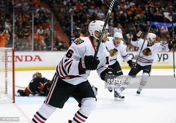 Marcus Kruger of the Chicago Blackhawks celebrates scoring the game winning goal over the Anaheim Ducks in triple overtime of Game Two of the Western...
