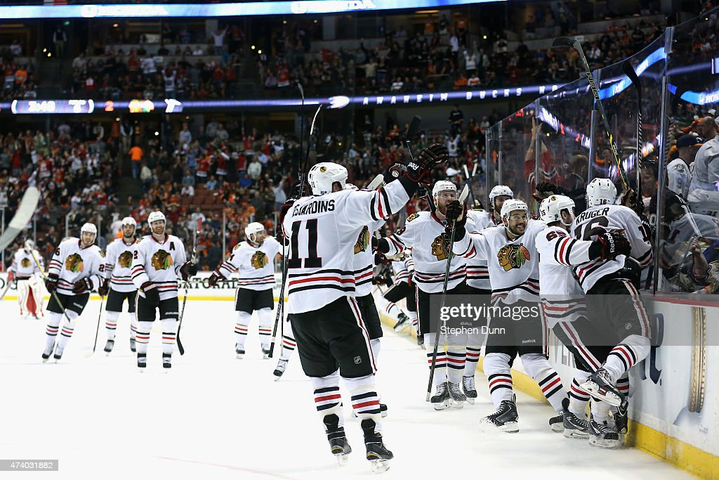 Marcus Kruger #16 of the Chicago Blackhawks is congratulated by teammates after he scored the game winning goal over the Anaheim Ducks in triple overtime of Game Two of the Western Conference Finals during the 2015 NHL Stanley Cup Playoffs at Honda Center on May 19, 2015 in Anaheim, California. The Chicago Blackhawks won the game 3-2.