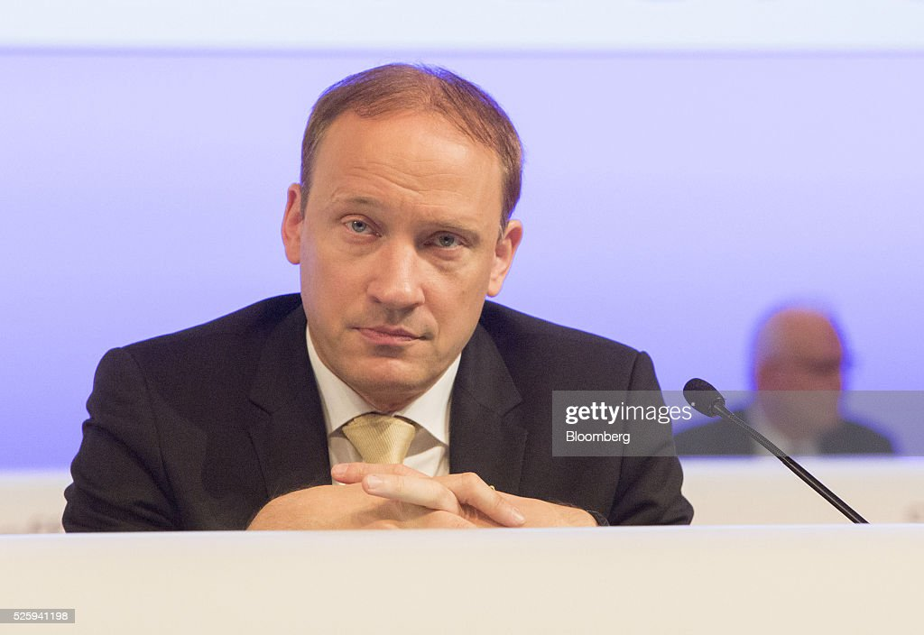 Marcus Kuhnert, chief financial officer of Merck KGaA, looks on during the pharmaceutical company's annual general meeting in Frankfurt, Germany, on Friday, April 29, 2016. Merck's Chief Executive Officer Karl-Ludwig Kley will replace Werner Wenning as chairman of the supervisory board of EON SE after the company's annual general meeting on June 8, EON said. Photographer: Martin Leissl/Bloomberg via Getty Images