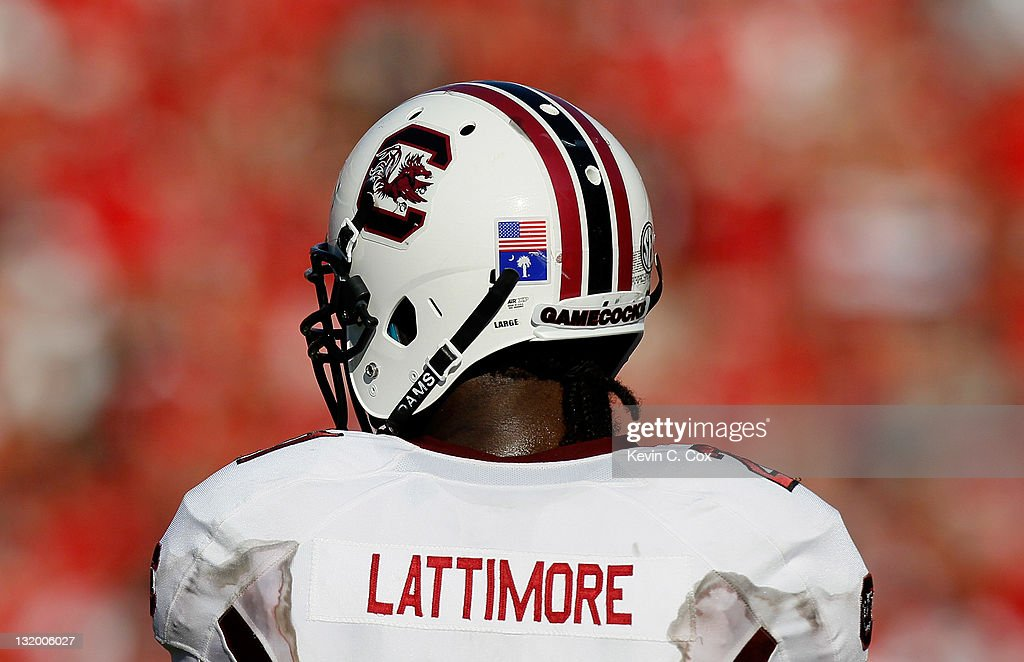 <a gi-track='captionPersonalityLinkClicked' href=/galleries/search?phrase=Marcus+Lattimore&family=editorial&specificpeople=7183280 ng-click='$event.stopPropagation()'>Marcus Lattimore</a> #21 of the South Carolina Gamecocks on September 10, 2011 in Athens, Georgia.