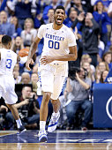 Marcus Lee of the Kentucky Wildcats celebrates in the game against the LSU Tigers at Rupp Arena on March 5 2016 in Lexington Kentucky