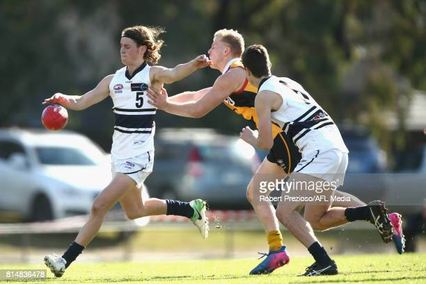 Marcus Lentini of the Northern Knights kicks during the round 13 TAC Cup match between Dandenong and Northern Knights at Shepley Oval on July 15 2017...